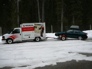UHaul and trailer stopped near Banff